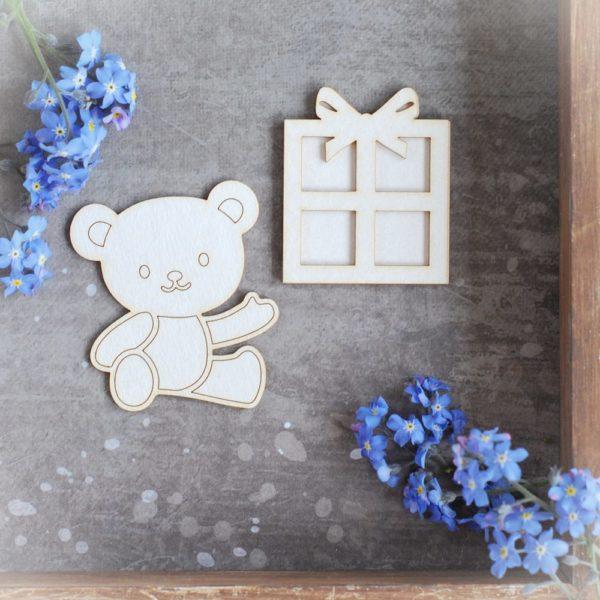 teddy bear and birthday present decorative laser cut chipboard set
