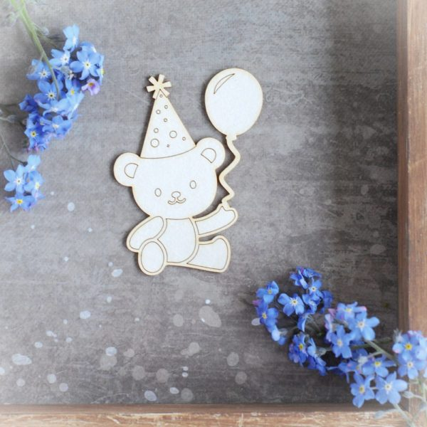 teddy bear with balloon and party hat decorative laser cut chipboard