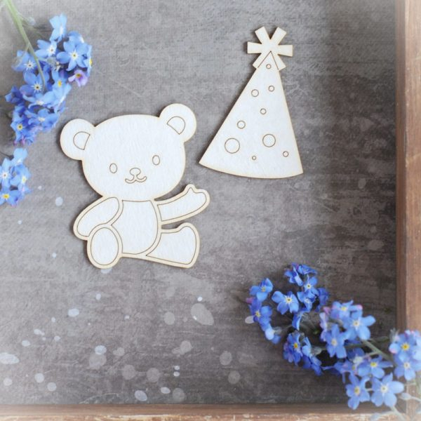 teddy bear and party hat set of decorative laser cut chipboards