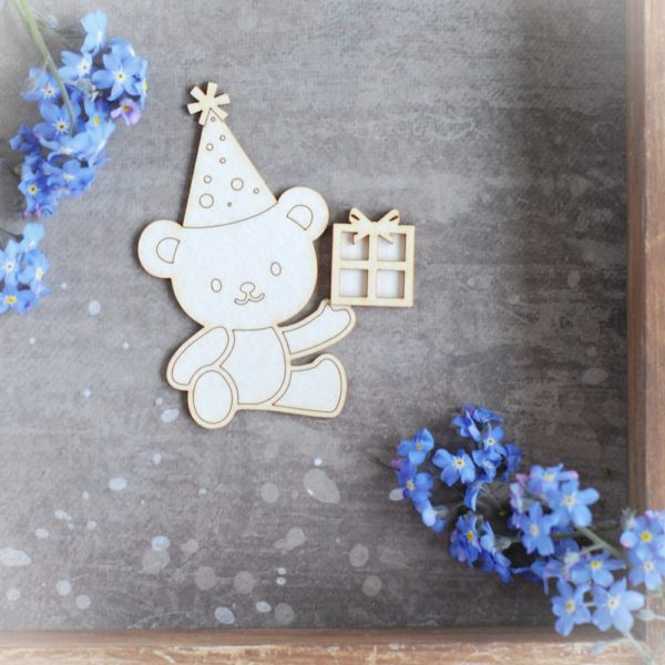 teddy bear with birthday present and party hat decorative laser cut chipboard