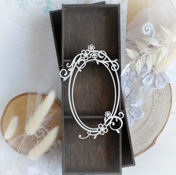 oval frame decorative laser cut chipboard embellishment