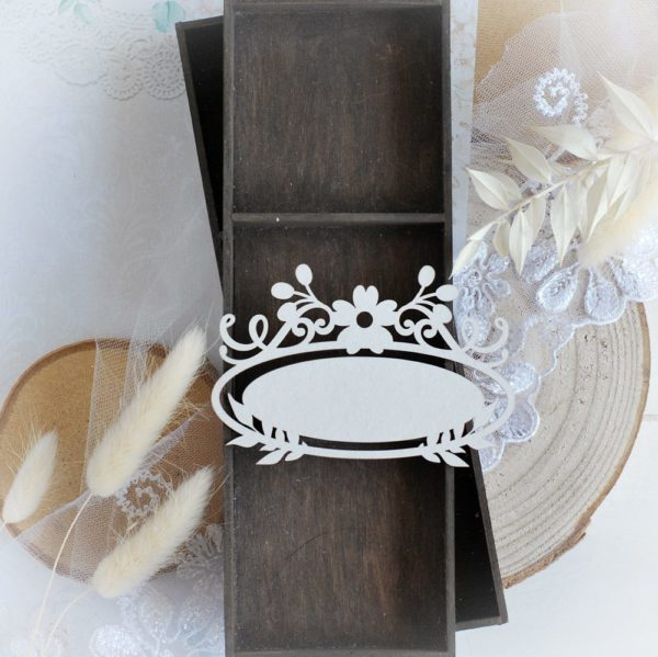decorative laser cut chipboard frame with flowers embellishment