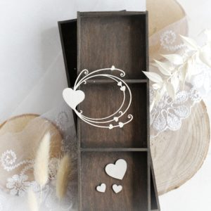 decorative frame and hearts set laser cut chipboard embellishments