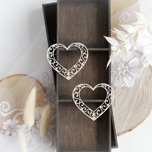 heart set decorative laser cut chipboard embellishment