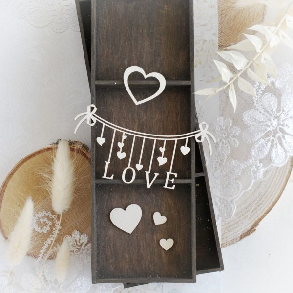 love banner and hearts decorative laser cut chipboard embellishments