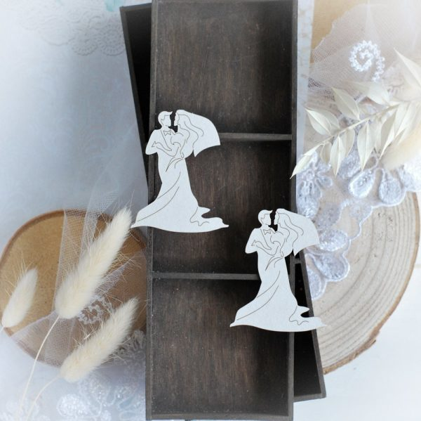 bride and groom set of decorative laser cut chipboard embellishments