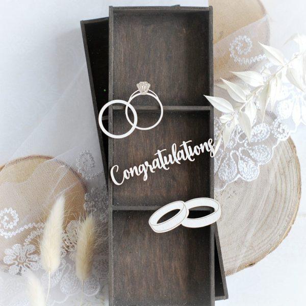 wedding love set congratulations wedding rings decorative laser cut chipboard embellishments