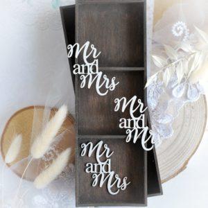 mr and mrs word set decorative laser cut chipboard embellishments