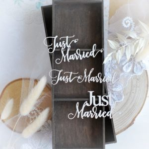 just married set of decorative laser cut chipboard embellishments