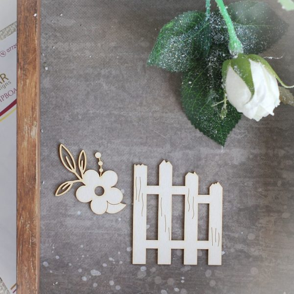 spring fence and flower laser cut chipboard set