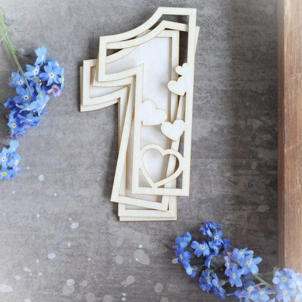 number one with hearts shaker box decorative laser cut chipboard