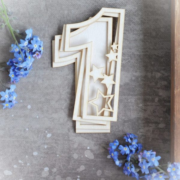 number one with stars decorative laser cut chipboard