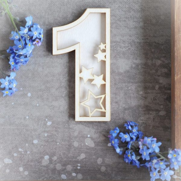 number one with stars shaker box decorative laser cut chipboard