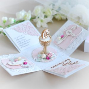personalised first holy communion card for a girl in pink with 3d laser cut decorative chalice and chipboards