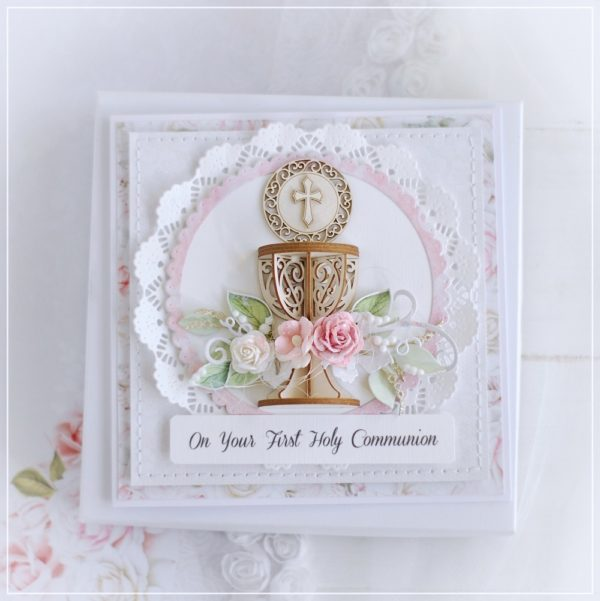 omn your first holy communion personalised card in box for a girl