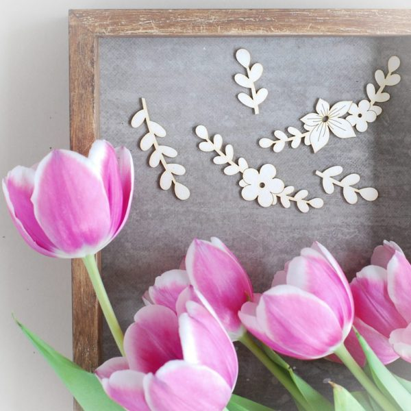 set of 5 decorative floral laser cut chipboards