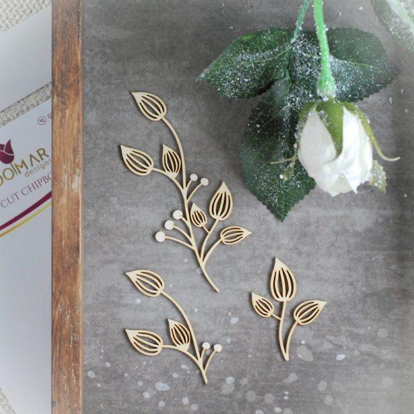 floral decorative laser cut chipboard set