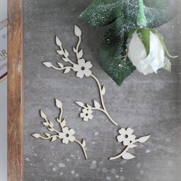 decorative floral laser cut chipboard set