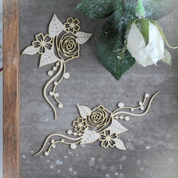 floral rose laser cut chipboard set