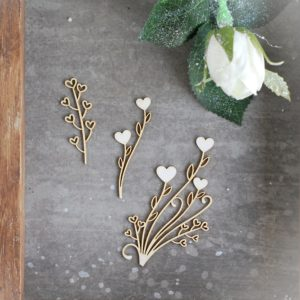 set of 4 floral laser cut chipboards