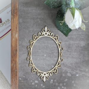 decorative laser cut chipboard oval frame with swirls