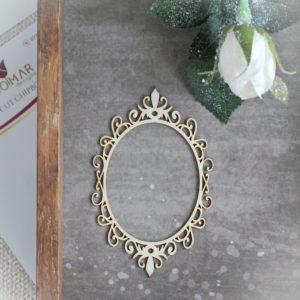 decorative laser cut chipboard oval frame with swirls