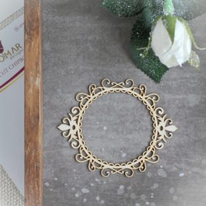 decorative laser cut small chipboard frame with swirls and ornaments