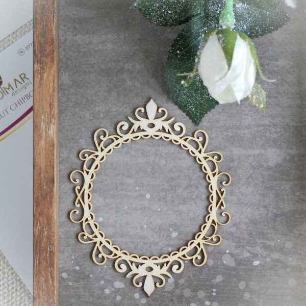 decorative laser cut chipboard frame with swirls and ornaments