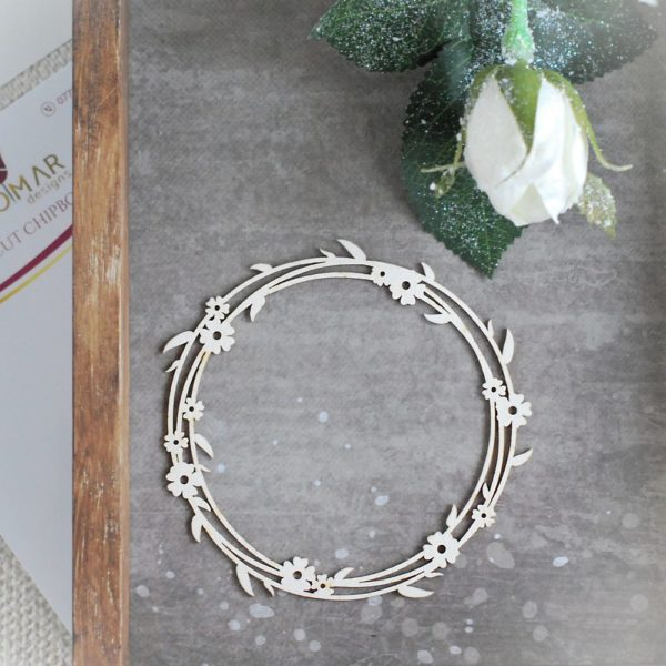 decorative laser cut chipboard wreath with flowers and tiny leaves