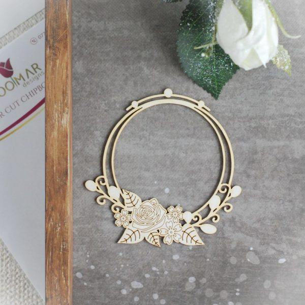 decorative laser cut chipboard double round frame with floral arrangements