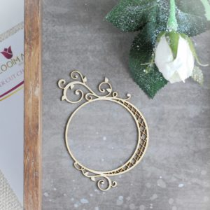 decorative laser cut chipboard small round frame with big and small swirl