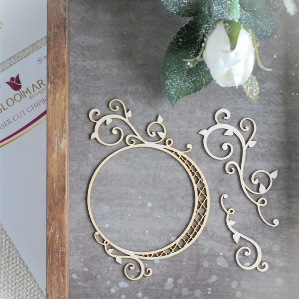 laser cut decorative chipboard frame with two swirls