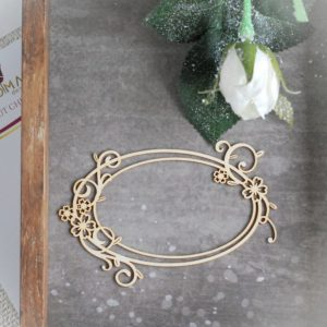 decorative laser cut double oval frame with flowers and swirls