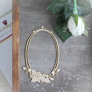 decorative laser cut chipboard oval double frame with rose flowers and leaves