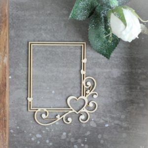 decorative laser cut chipboard large rectangle frame with swirls and hearts