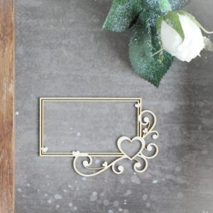 decorative laser cut chipboard rectangle frame with swirls and heart