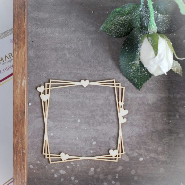 decorative laser cut chipboard square frame with little hearts