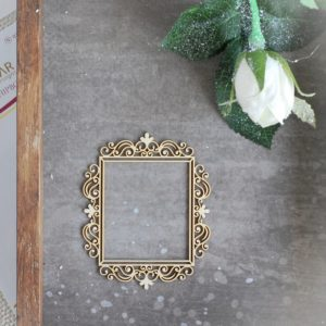 decorative laser cut chipboard rectangle small frame with ornaments