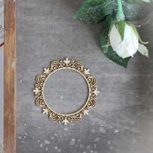 decorative laser cut small round chipboard frame with swirls