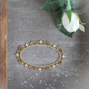 decorative laser cut chipboard small oval frame with ornaments