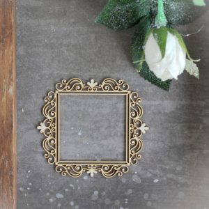 decorative laser cut large square chipboard frame with ornaments
