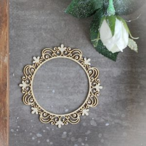 decorative laser cut chipboard large round frame with ornaments