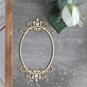 decorative laser cut chipboard oval frame with ornaments on the top and bottom