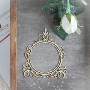 decorative laser cut chipboard double round frame with swirls leaves and ornament on the top