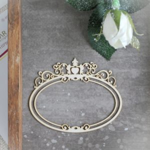decorative laser cut chipboard double oval frame with large ornament on the top