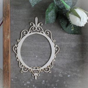decorative laser cut chipboard frame with swirls and ornament