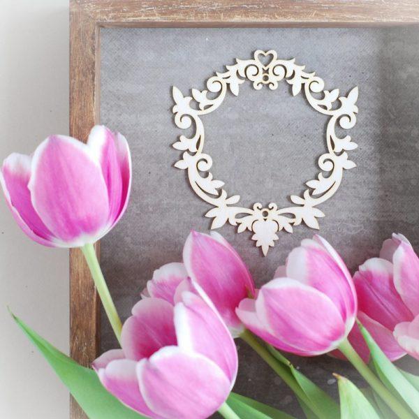 decorative laser cut chipboard frame ornament