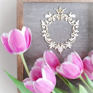 decorative laser cut chipboard ornament frame with crown and two tiny bunnies
