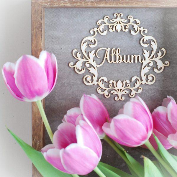 Large decorative laser cut chipboard ornament album frame