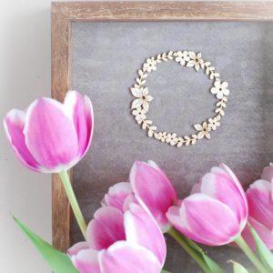 decorative laser cut small chipboard flower wreath frame